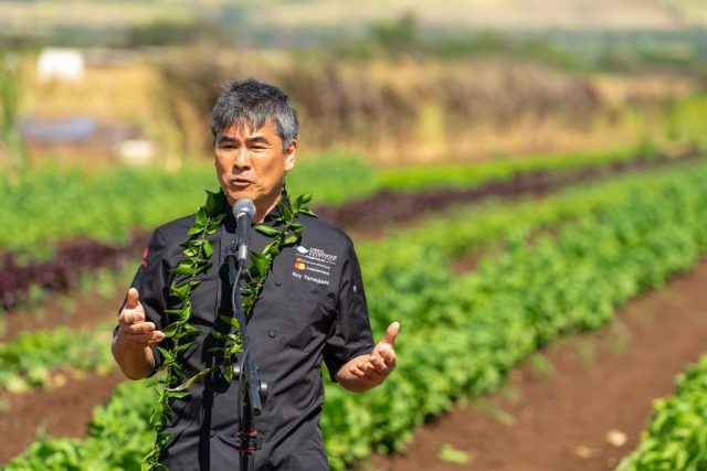Chef Roy Yamaguchi spoke at the Chef's Corner blessing ceremony Thursday morning. Photo by JD Pells.
