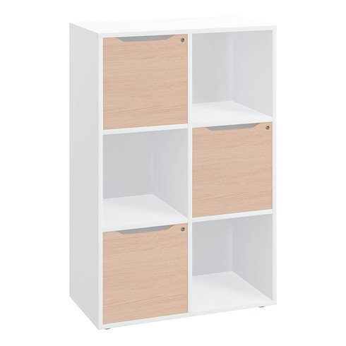 meuble a casiers blanc 6 cases avec portes