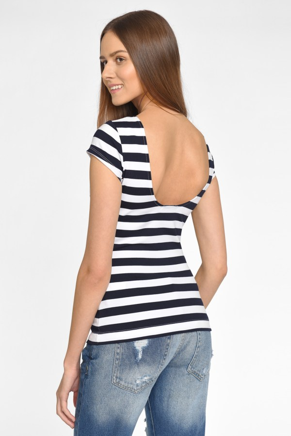Женская белая футболка в полоску Oodji 24701009/35477 ...