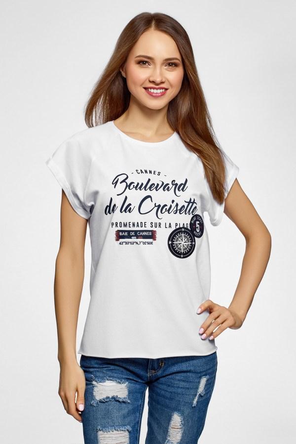 Женская белая футболка с принтом Oodji 14707001-63/46154 ...