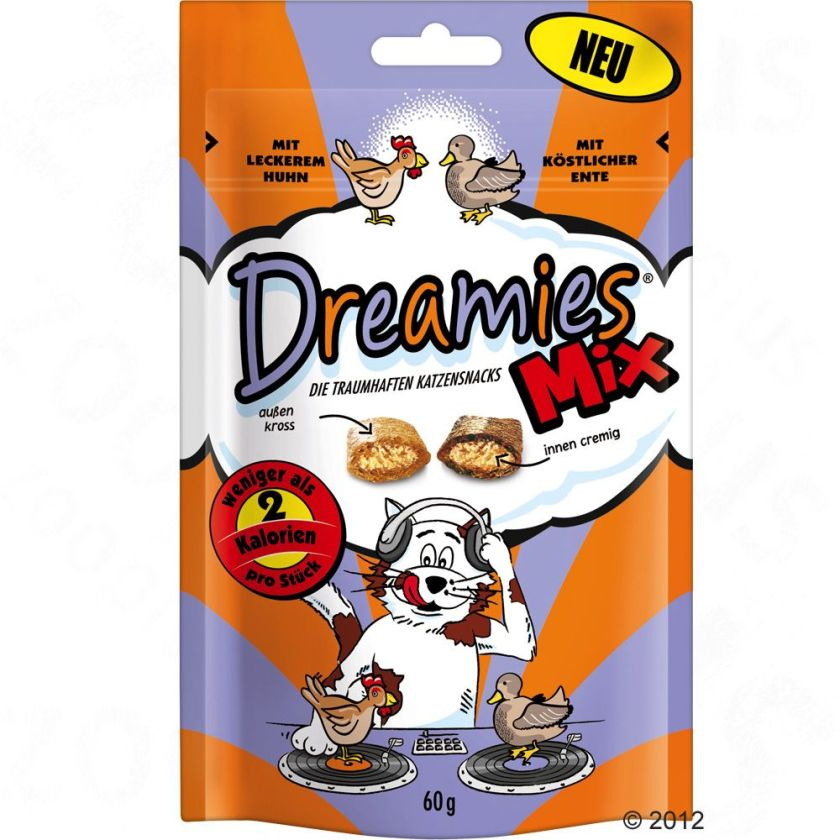 Catisfactions Mix au poulet, canard pour chat 60g - Friandises Dreamies Catisfactions