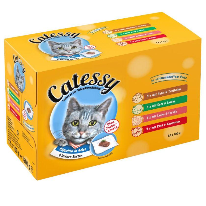 96x100g Bouchées en gelée Catessy - Sachets et Boîtes pour Chat