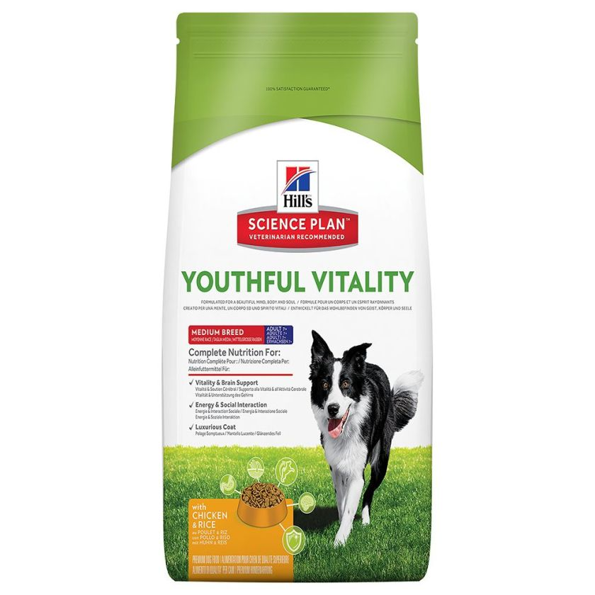 Hill´s Science Plan Canine 7+ Youthful Vitality Medium Breed poulet, riz - lot % : 2 x 10 kg