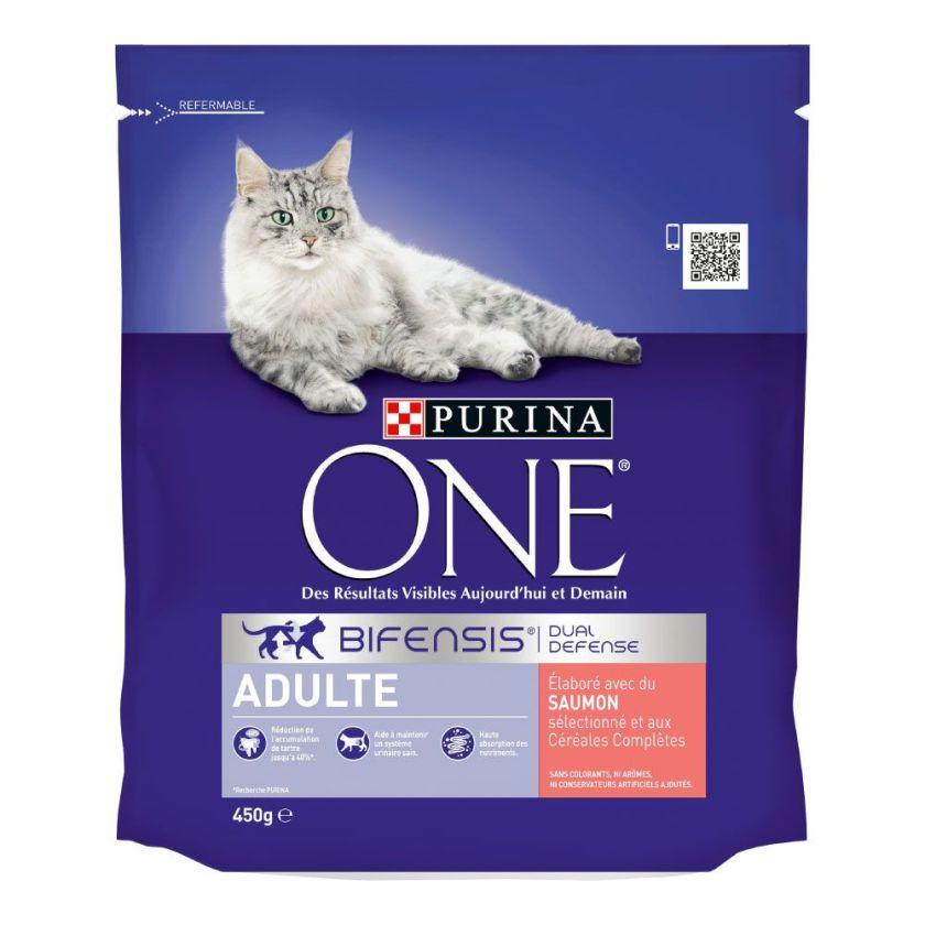4x1,5kg Adulte saumon céréales complètes PURINA ONE - Croquettes pour chat