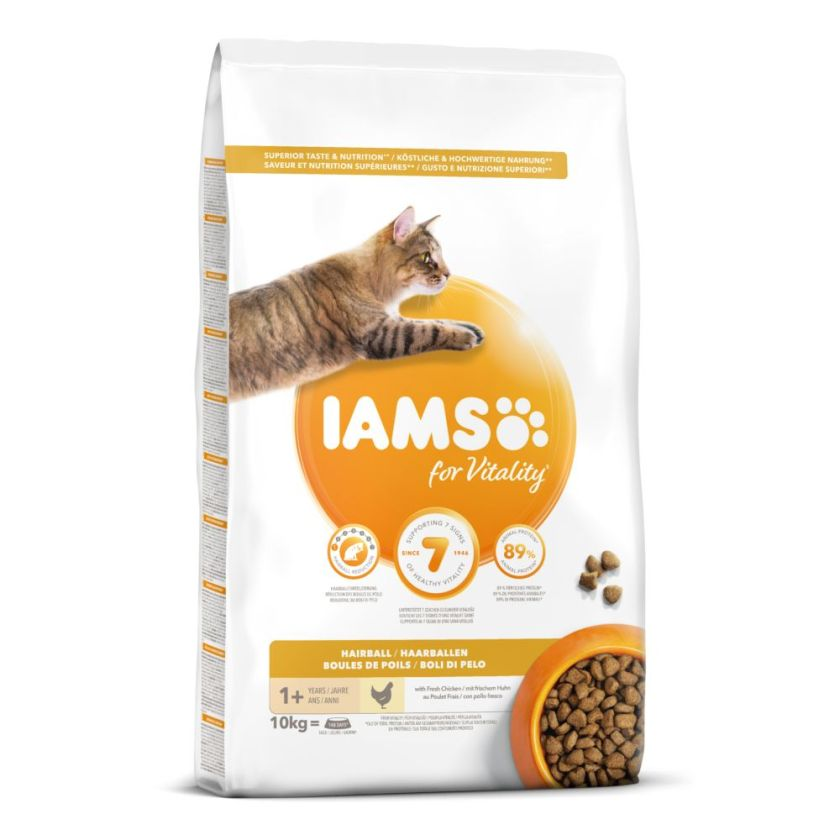 10kg Adult Hairball Control Pro Active Health IAMS - Croquettes pour Chat