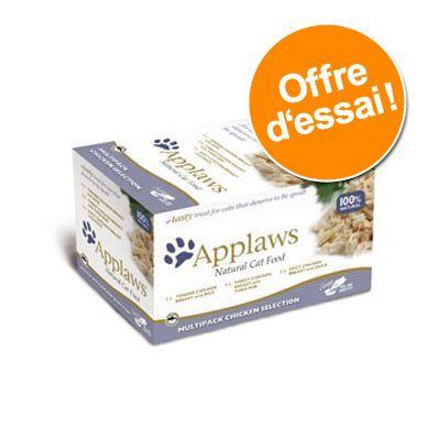8x60g Cat Pots sélection au poulet Applaws - Nourriture pour Chat