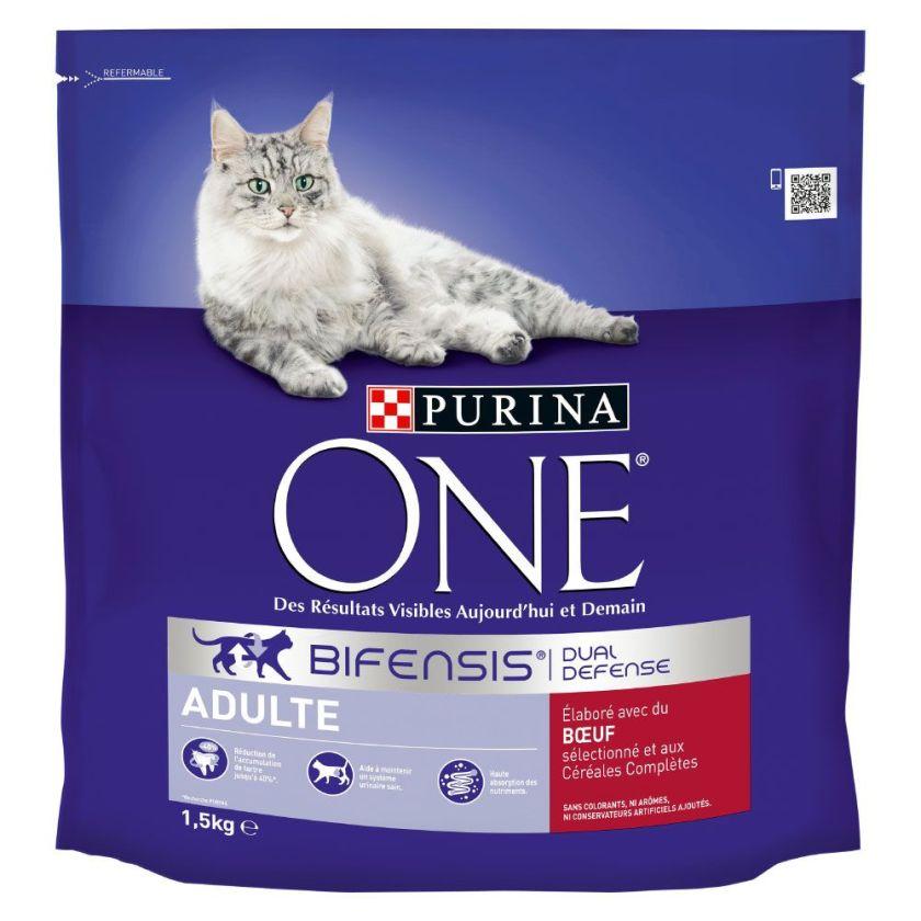 2x1,5kg Adulte bœuf + céréales complètes PURINA ONE - Croquettes pour chat
