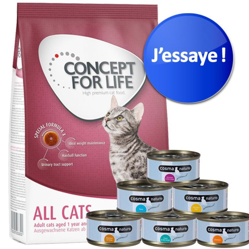 Lot 400 g Concept for Life + 6 x 70 g Cosma Nature - Maine Coon + Cosma Nature