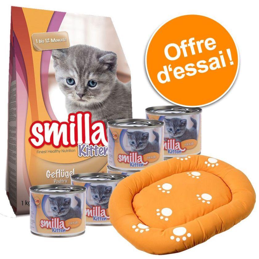 Offre découverte Smilla Kitten + panier - 1 kg de croquettes + 6 x 200 g de boîtes poulet