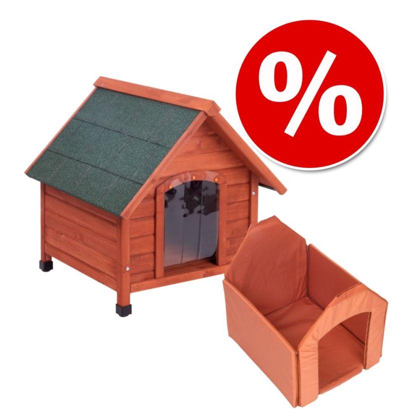 Lot Spike Comfort : niche, isolation et porte pour chien - kit taille M : l 78 x P 88 x H 81 cm