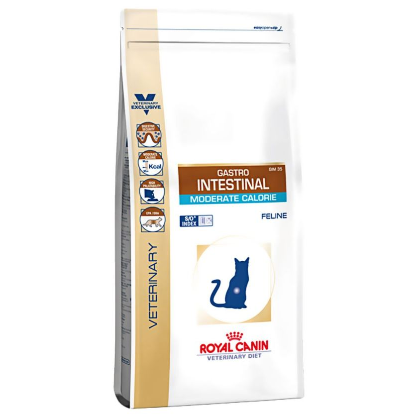 2x4kg Gastro Intestinal Moderate Calorie Royal Canin Veterinary Croquettes pour chat