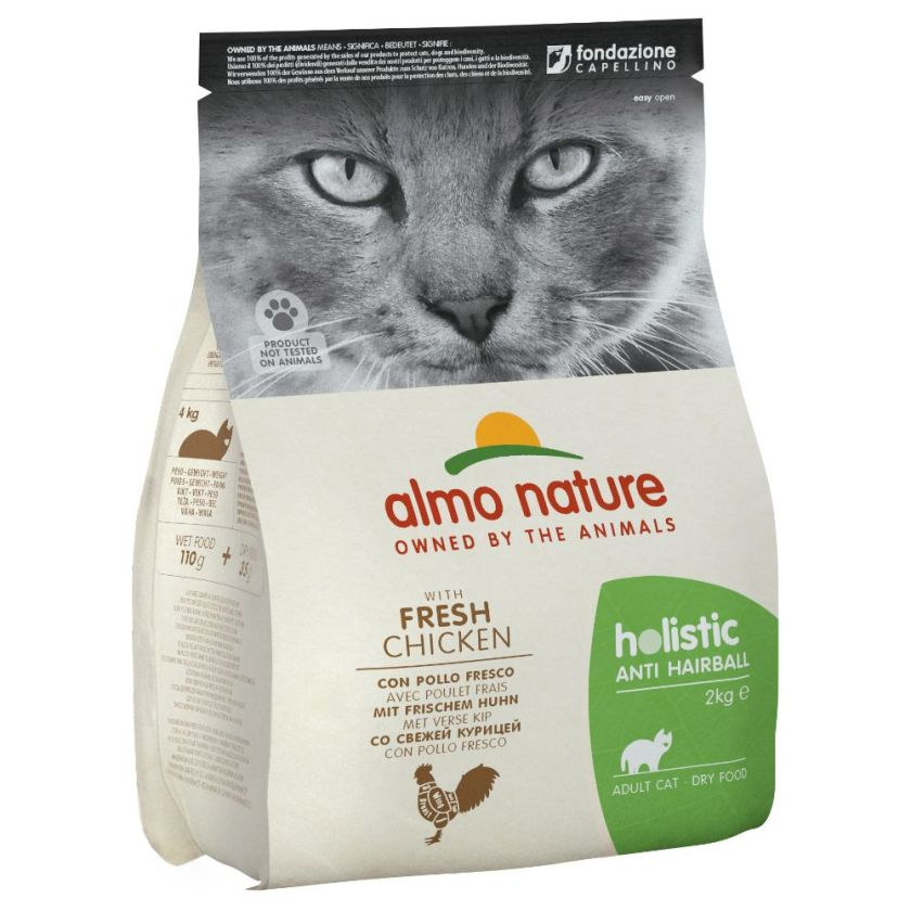 2kg Anti Hairball poulet/riz Almo Nature Holistic - Croquettes pour Chat