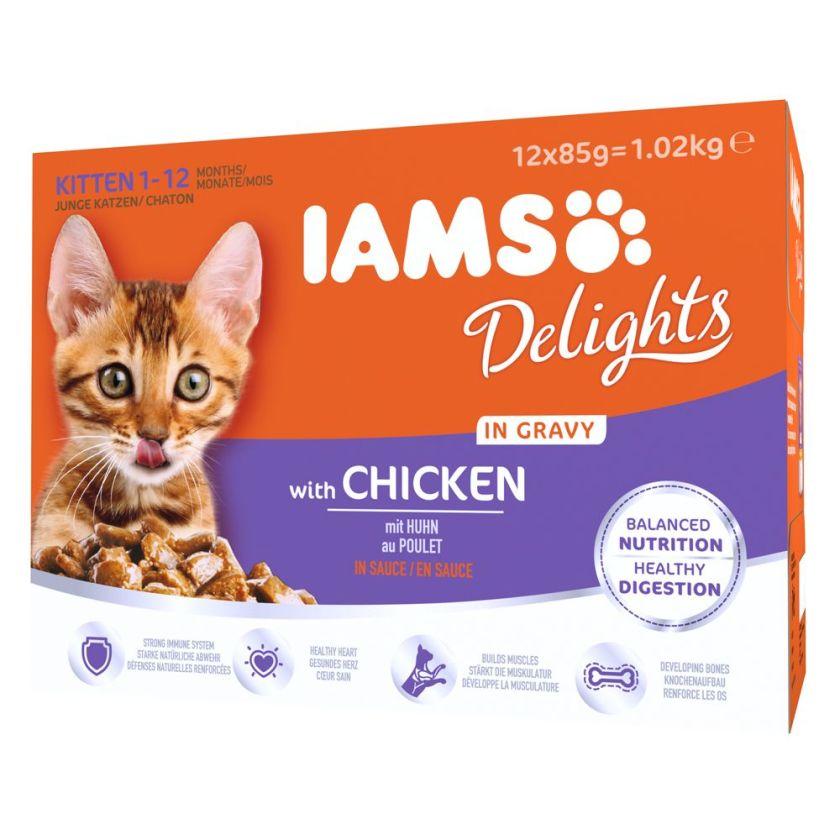 12x85g Kitten & Junior poulet IAMS - Nourriture pour Chat