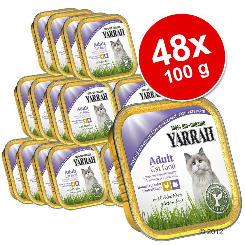 48x100g Yarah Bio Adult Poisson/spiruline Bouchées en sauce pour chat - Offre Promo