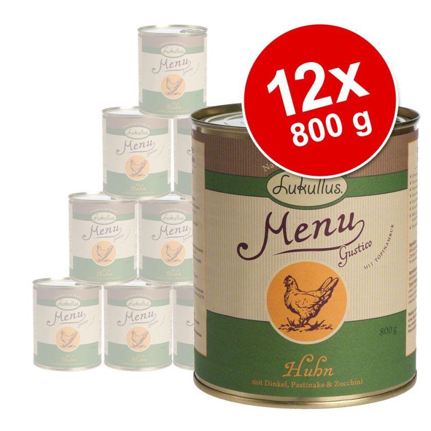 12x800g Menu Gustico veau, flocons d'avoine, poire, poireau Lukullus - Nourriture pour chien