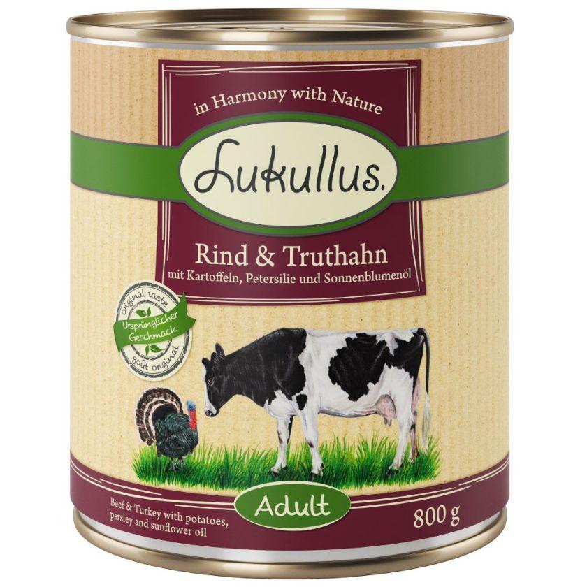 6x800g bœuf dinde Lukullus - Aliment pour Chien