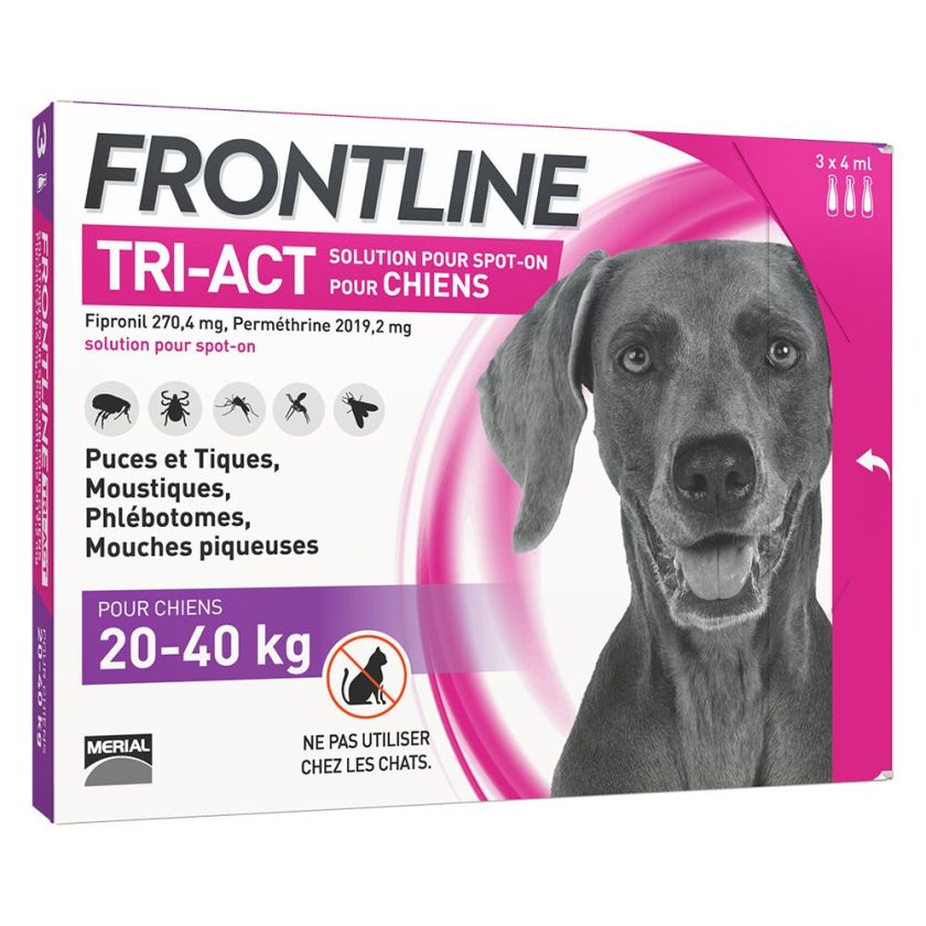 FRONTLINE TRI-ACT Chien, 20 - 40 kg - 6 pipettes