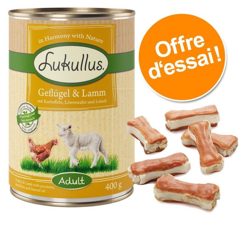 6x400g lapin de garenne, dinde + 12x5cm os à mâcher Lukullus - Nourriture pour chien