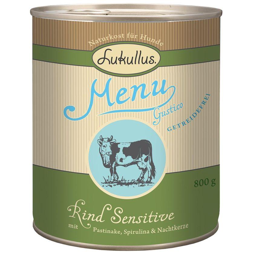 6x800g Menu Gustico Sensitive, bœuf sans céréales Lukullus - Nourriture pour chien
