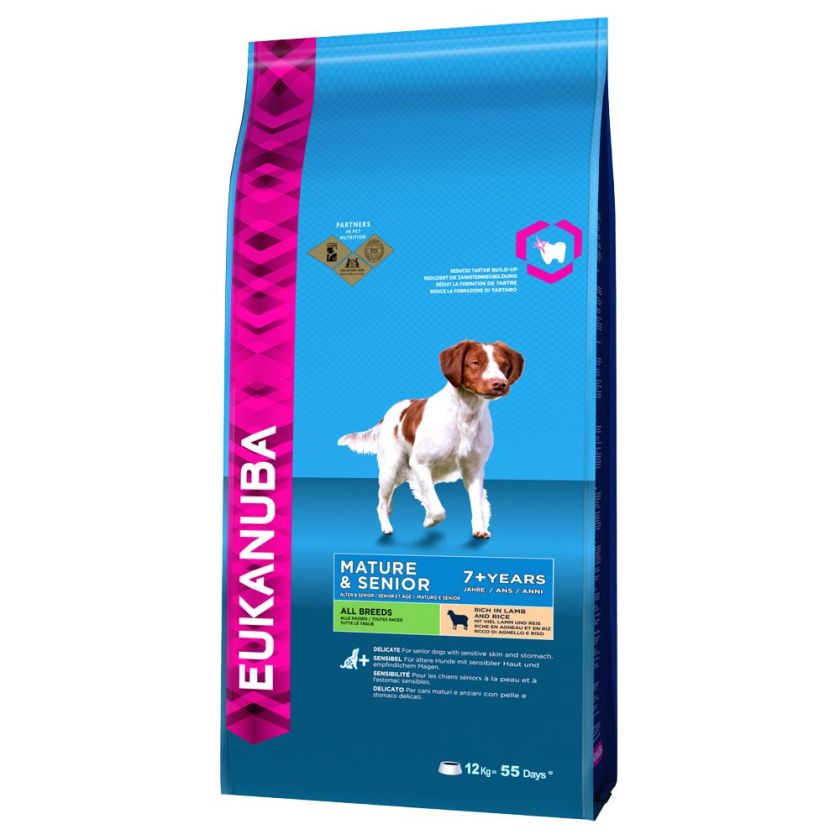 12kg Mature & Senior Eukanuba Agneau, riz Croquettes pour chien