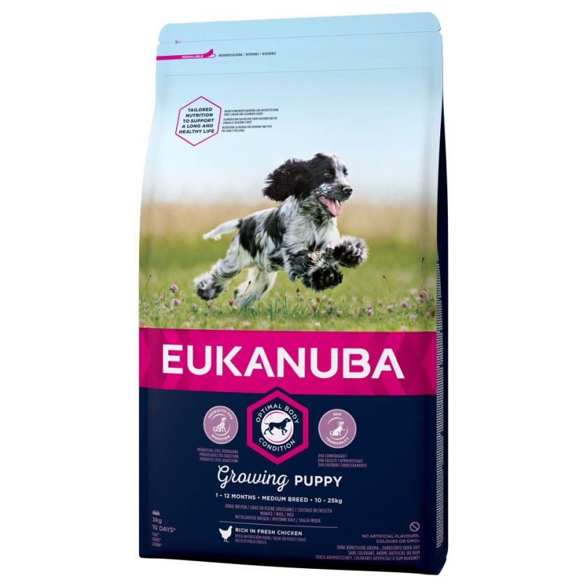 15kg Medium Growing Puppy Breed poulet Eukanuba Croquettes chiot