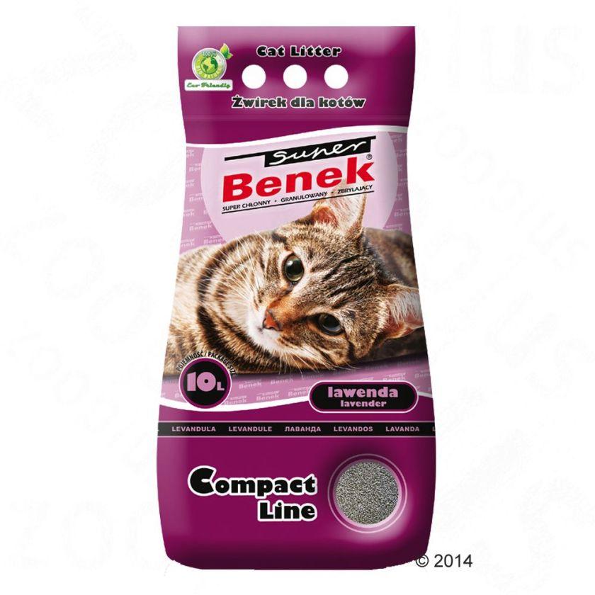 Litière Super Benek Compact Lavande pour chat - 10 L