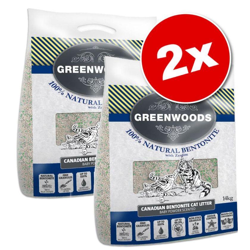 2x14kg litière argile naturelle et zéolite Greenwoods