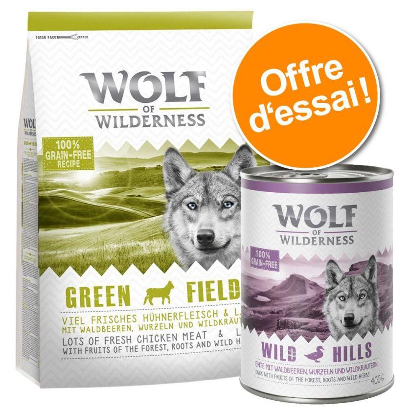 1kg croquettes + 6x400g boîtes Green Fields agneau Wolf of Wilderness Nourriture pour chien