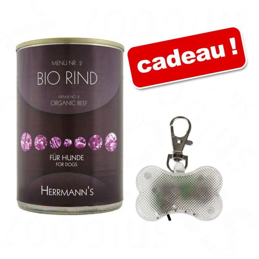 Boîtes Herrmanns 18 x 400 g + pendentif lumineux Safety Light offert ! - Menu poulet bio, carottes, riz