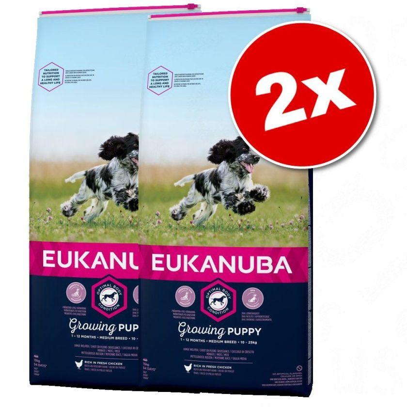 2x15kg Growing Puppy Large Breed poulet Eukanuba - Croquettes pour chien