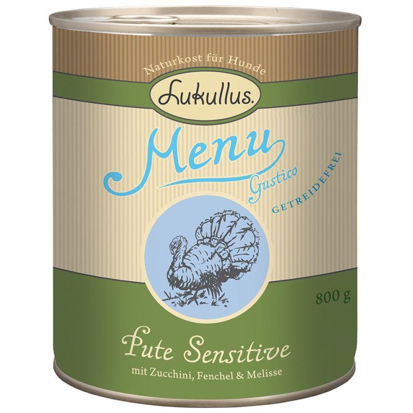 6x400g Menu Gustico Sensitive, dinde sans céréales Lukullus - Nourriture pour chien