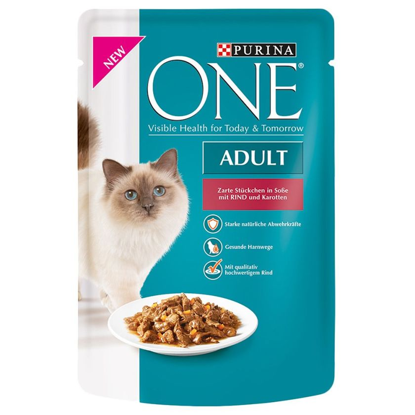 Purina One Adult 6 x 85 g - poulet, haricots verts