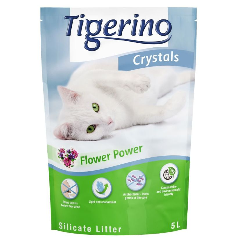 3x5L Tigerino Crystals Flower-Power Litière pour chat