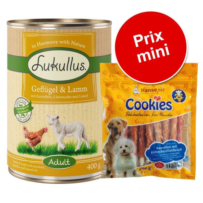 6x400g boîtes lapin de garenne, dinde + Cookie's 200g Lukullus - Nourriture pour chien