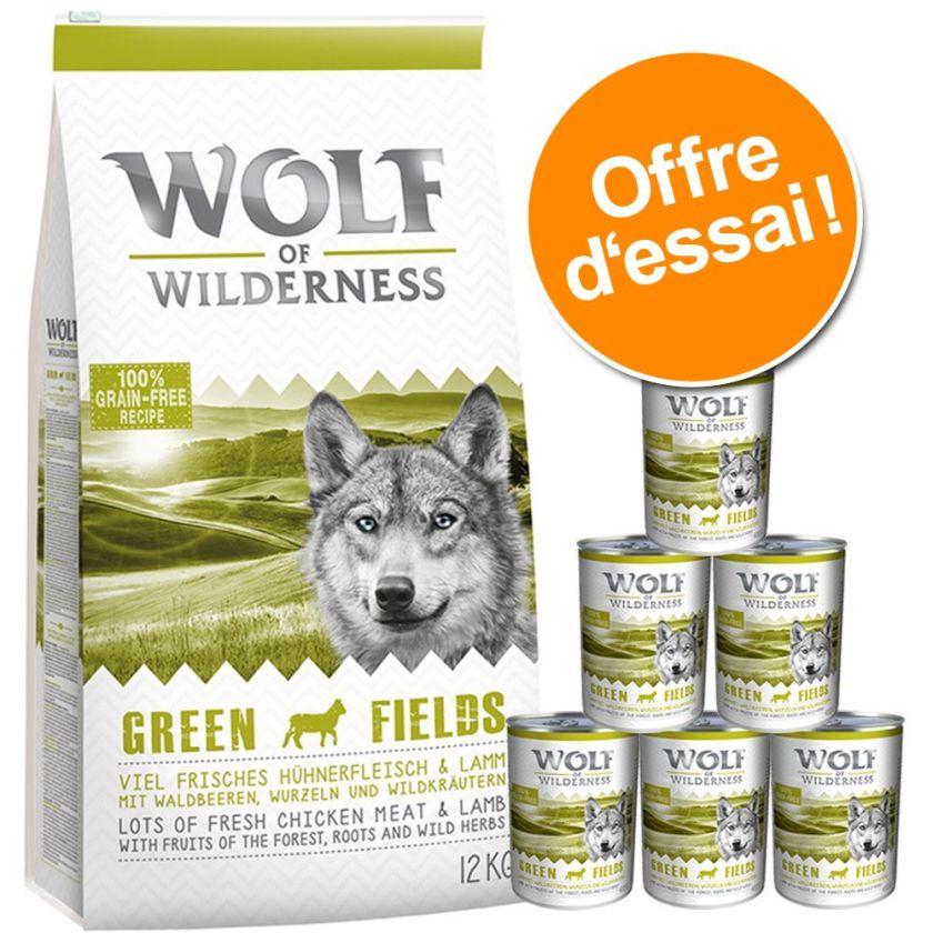 12kg croquettes + 6x400g Boîtes Adult Green Fields agneau Wolf of Wilderness