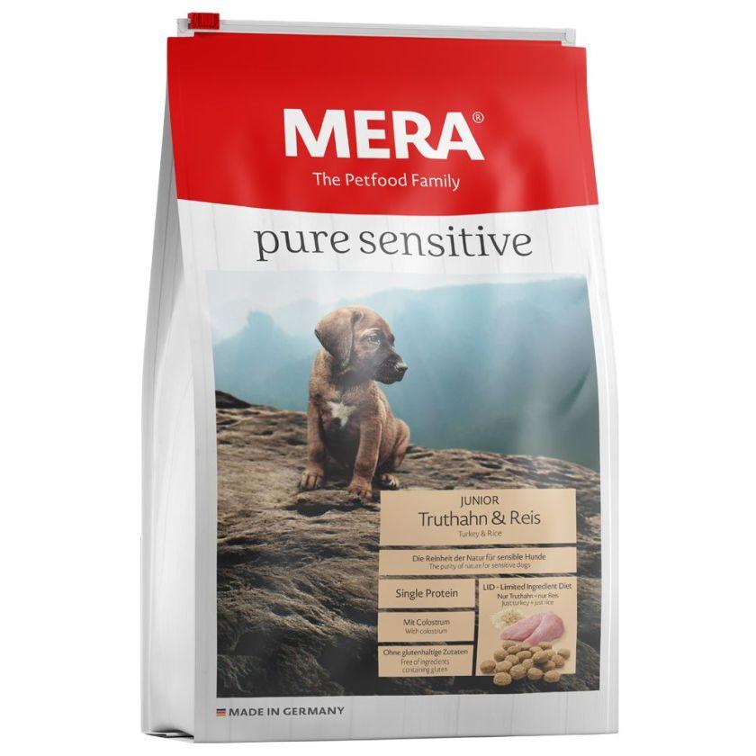 12,5kg pure sensitive Junior dinde, riz MERA pour chiot - Croquettes pour chien