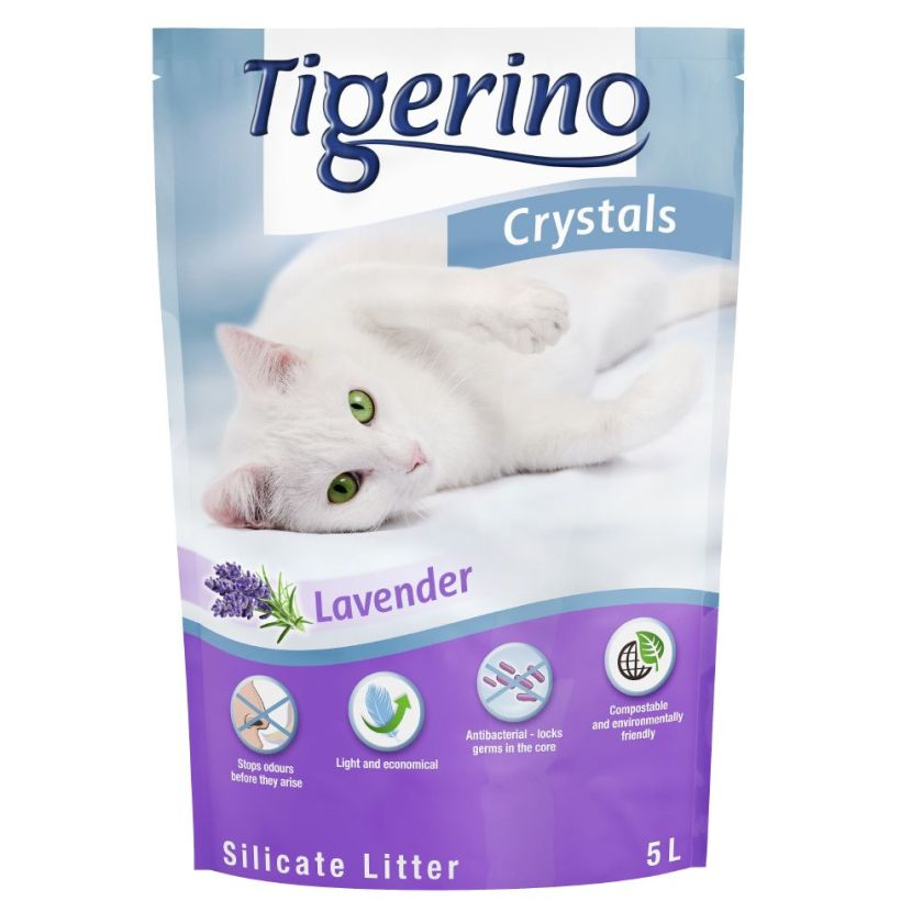 3x5L Tigerino Crystals Litière senteur Lavande pour chat