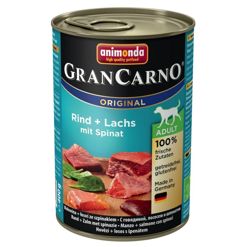 6x400g boeuf, coeur de canard Original Adult Animonda GranCarno - Nourriture pour chien