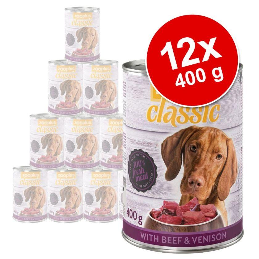 Lot zooplus Classic 12 x 400 g pour chien - gibier, bœuf