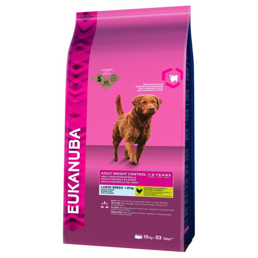 2x15kg Eukanuba Adult Weight Control grandes races Croquettes pour chien