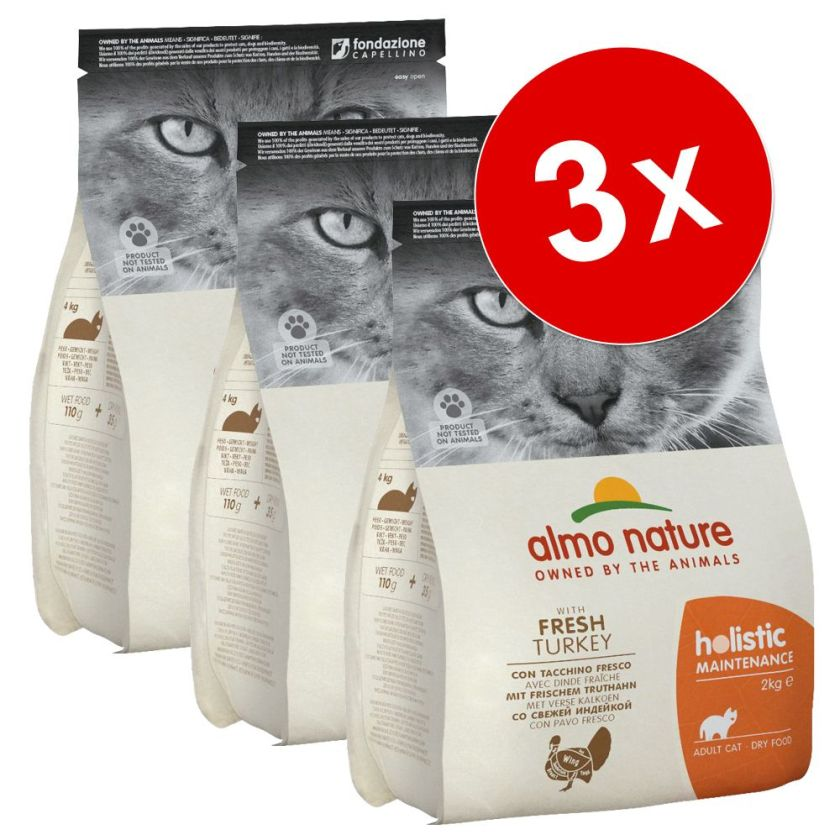 Lot Almo Nature Holistic 3 x 2 kg pour chat - sterilised saumon, riz