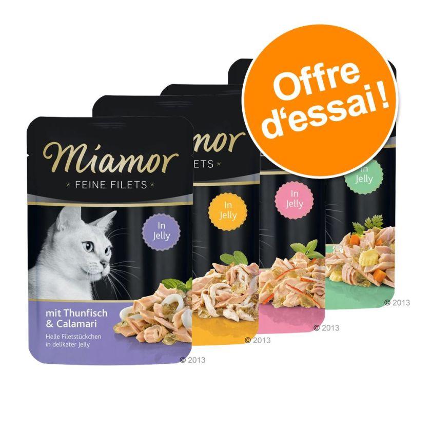 4x100g Filets fins en gelée 4 variétés Miamor - Nourriture pour Chat