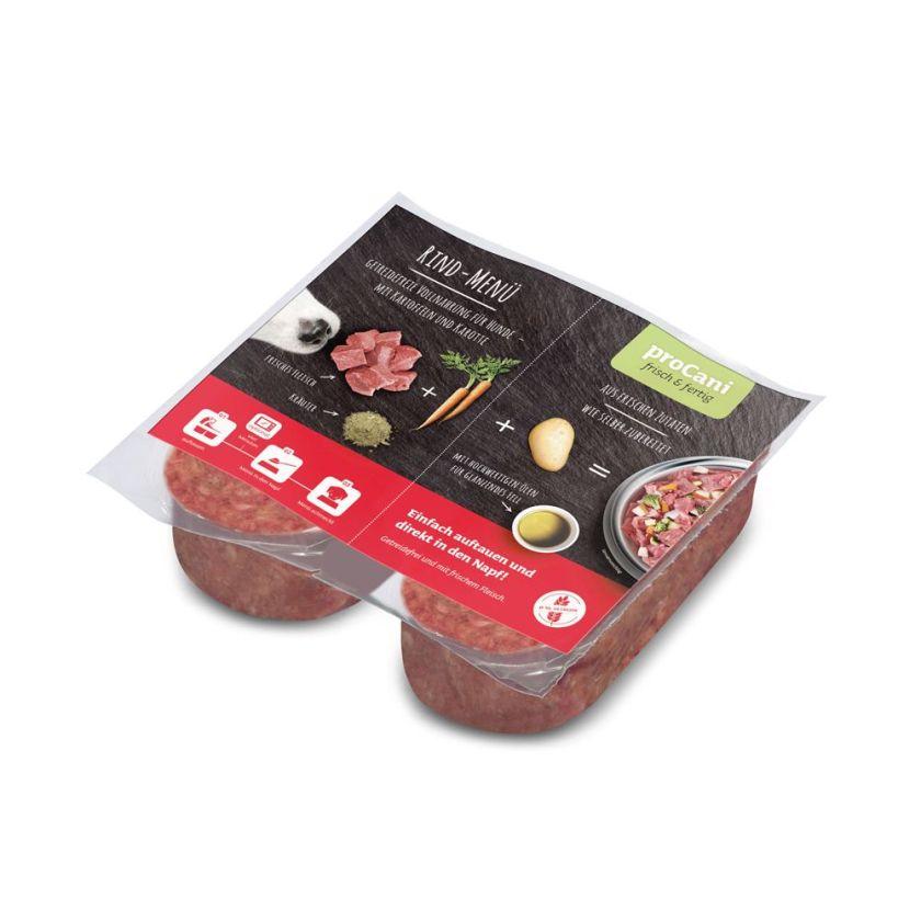 proCani Menu BARF bœuf, carottes, pâtes pour chien - 80 x 200 g (2 x 200 g par barquette)