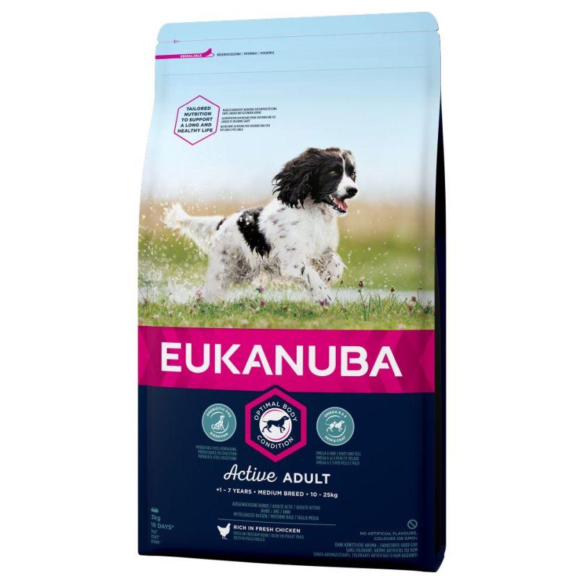 2x15kg Medium Active Adult Breed poulet Eukanuba Croquettes chien