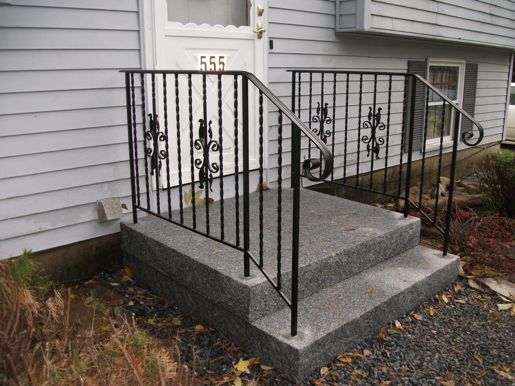 Custom Wrought Iron Handrails In Granite Steps From | Wrought Iron Handrails Near Me