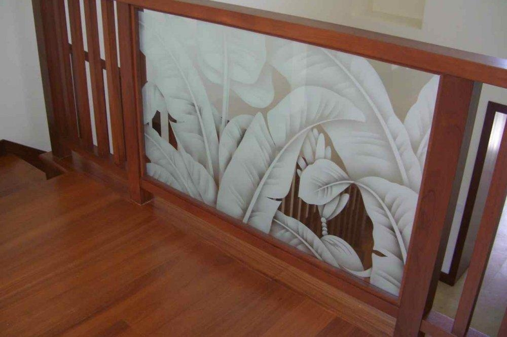 Stair Bannister Glass Etched Tropical Leaves Jpg From Sans Soucie   Etched Glass Stair Panels   Bannister   Mirror   Tempered Glass   Duplex   Glass Etching