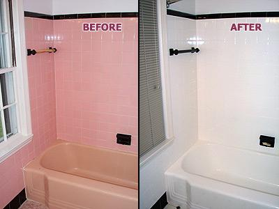 Pink Tub Amp Tile BEFORE Amp AFTER From Renew Kitchen Amp Bath Refinishing In Chico CA 95928