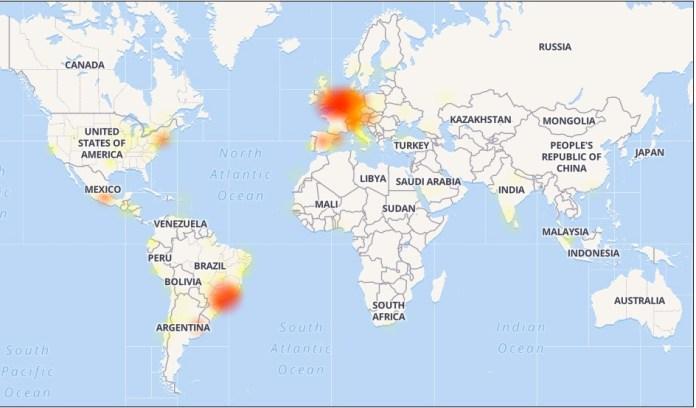 Mapa de la caída nivel mundial de WhatsApp