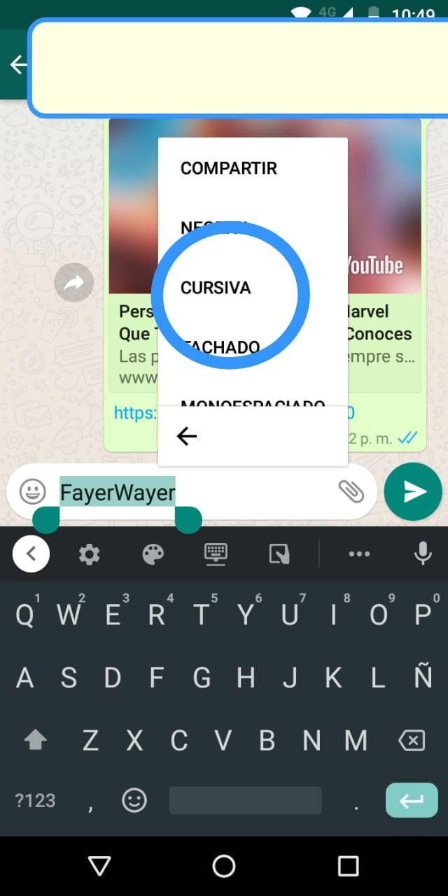 WhatsApp Cursiva