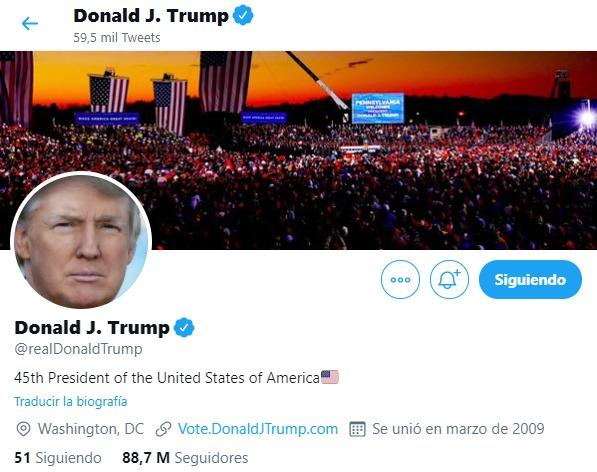 Donald Trump en Twitter.